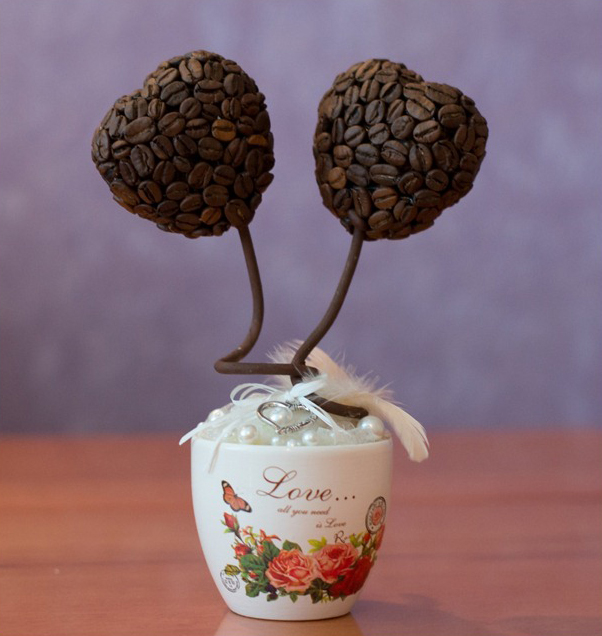 homemade valentines day gift lovers coffee topiaries pearls cup