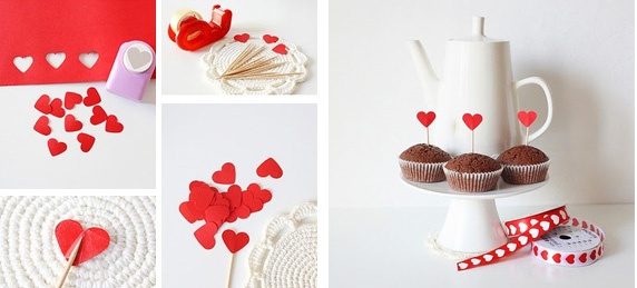 homemade valentines day gifts for him cupcakes sticks red paper hearts - Valentine Day Gift For Boyfriend
