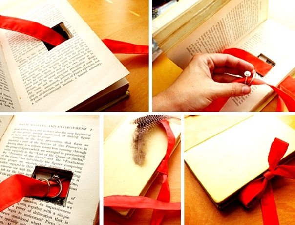 Homemade Valentines Day Gifts Her Old Book Engagement Ring Red Ribbon