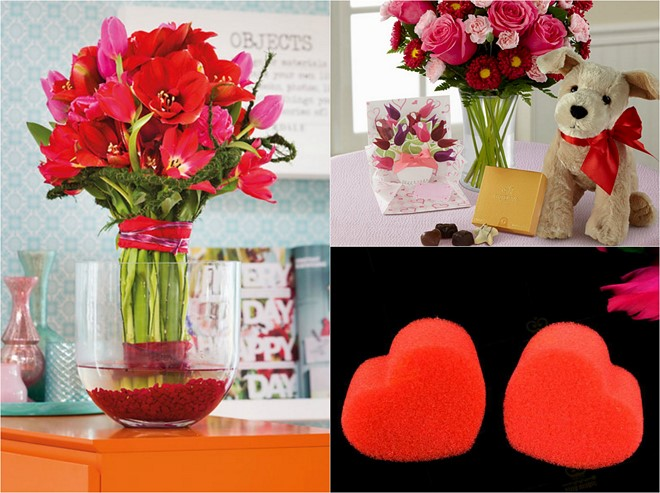Table decoration ideas valentines-day-flower-bouquet-vase-filler-sponge-hearts