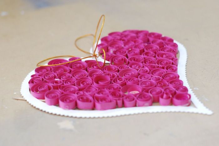 Valentines Day Craft Idea For Kids Quilling Paper Pink Heart Diy Decorating