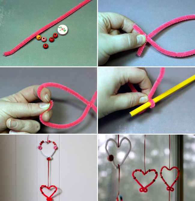 Valentines day crafts kids easy home decor garlands pipe for Valentine day at home