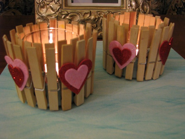 valentines day decor ideas home candle holders clothespins felt hearts
