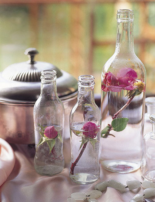 Valentines Day Decor Ideas Home Glass Bottles Roses Vintage Beauty