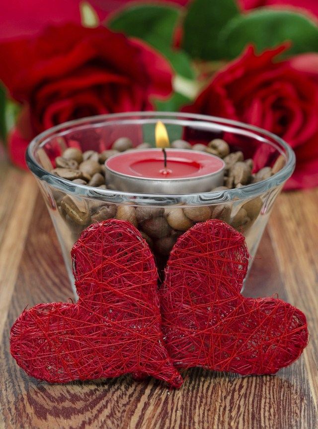 Valentine S Day Decorating Ideas Home Candle Holders Coffee Beans