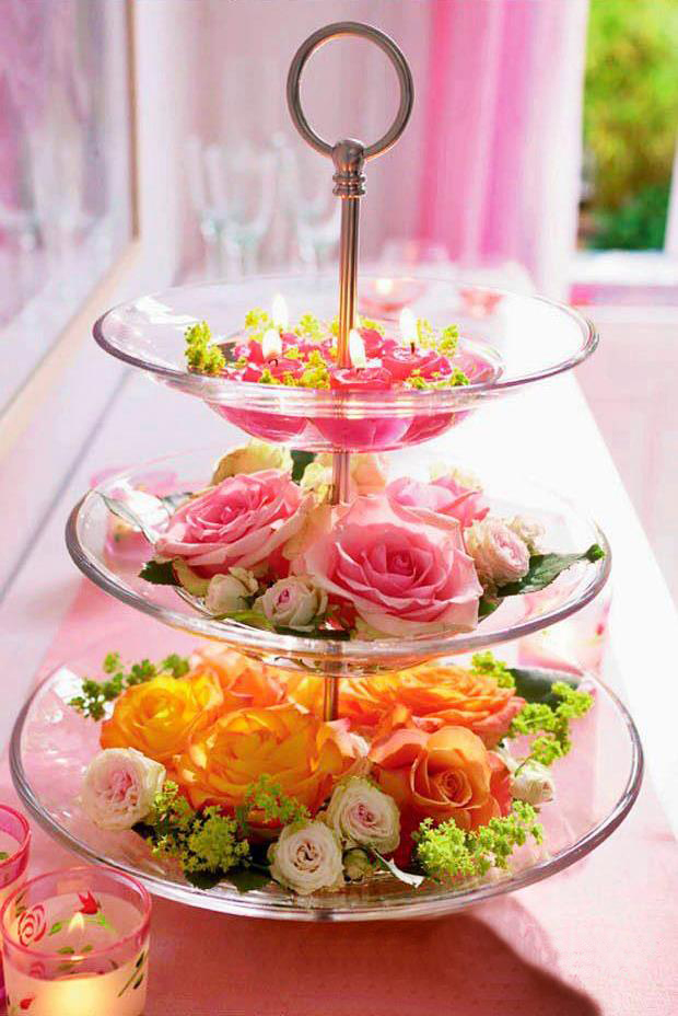 Valentine s day decorating ideas home flowers glass tiered stand roses