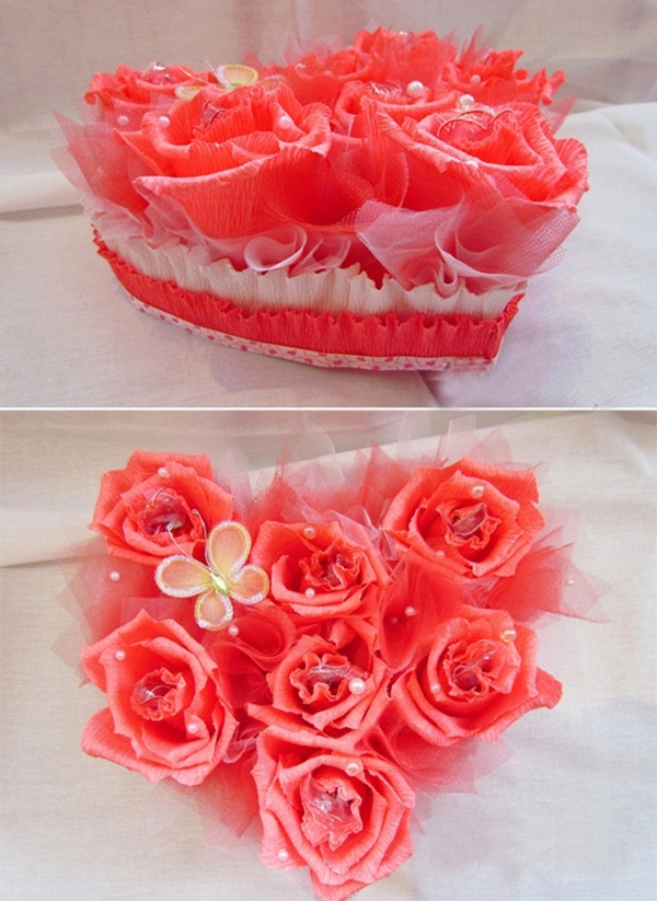 valentines day gift diy idea crepe paper chocolate bouquet paper flowers