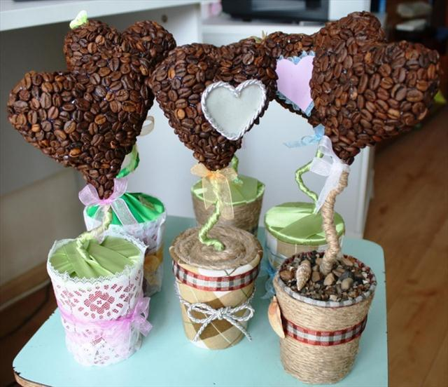 valentines day gift ideas topiaries coffee beans heart shaped