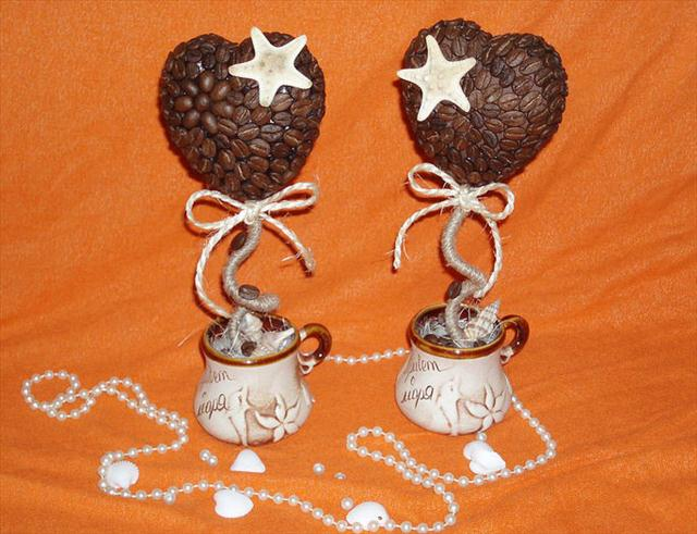 valentines day gift topiaries coffee beans sea shells