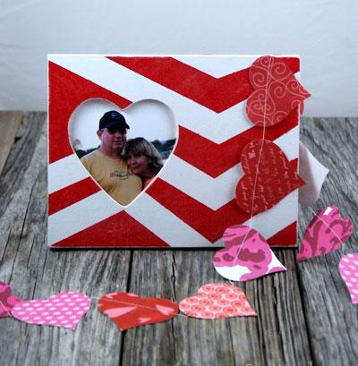 valentines day gift  him idea photo frame chevron pattern