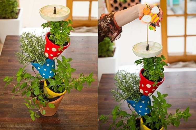 Diy Vertical Herb Garden Flower Pots Decorating Idea