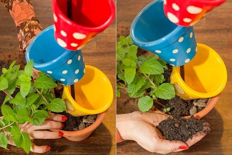 diy planters containers  plastic pot vertical herb garden