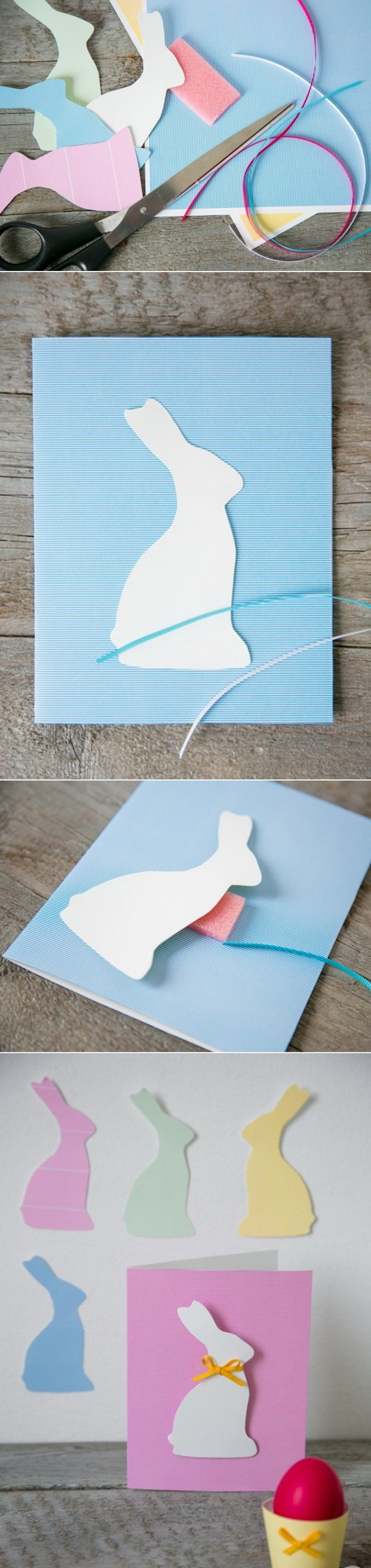 easter craft kids diy easter cards bunny silhouette foam