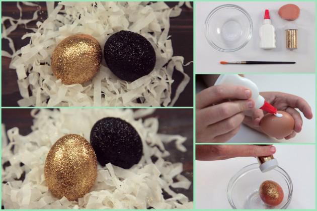 easter egg decor ideas glueing glitter gold black