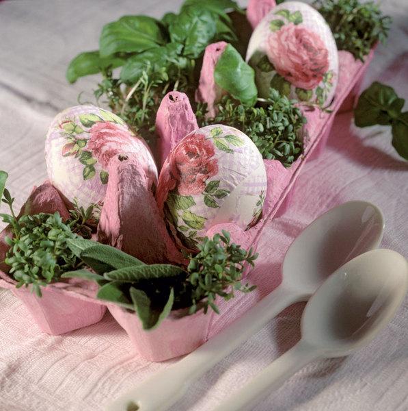 easter egg decorations decoupage technique egg carton herbs