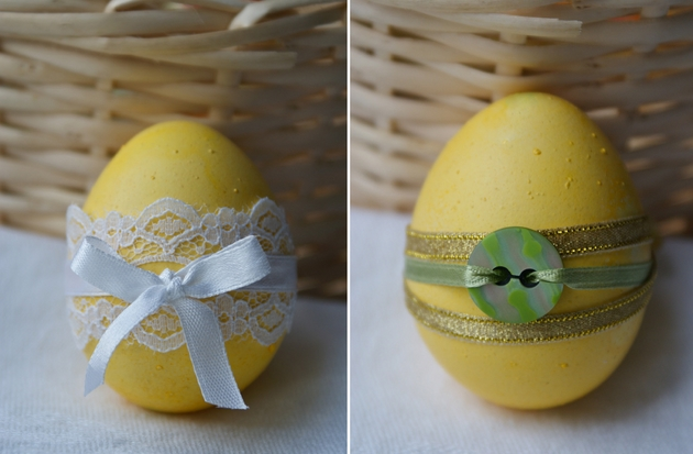 easter egg decorating ideas lace ribbon button
