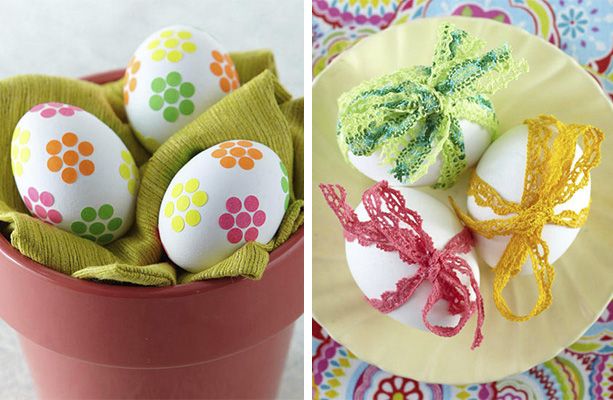 easter egg decorating ideas no dye stickers ribbons