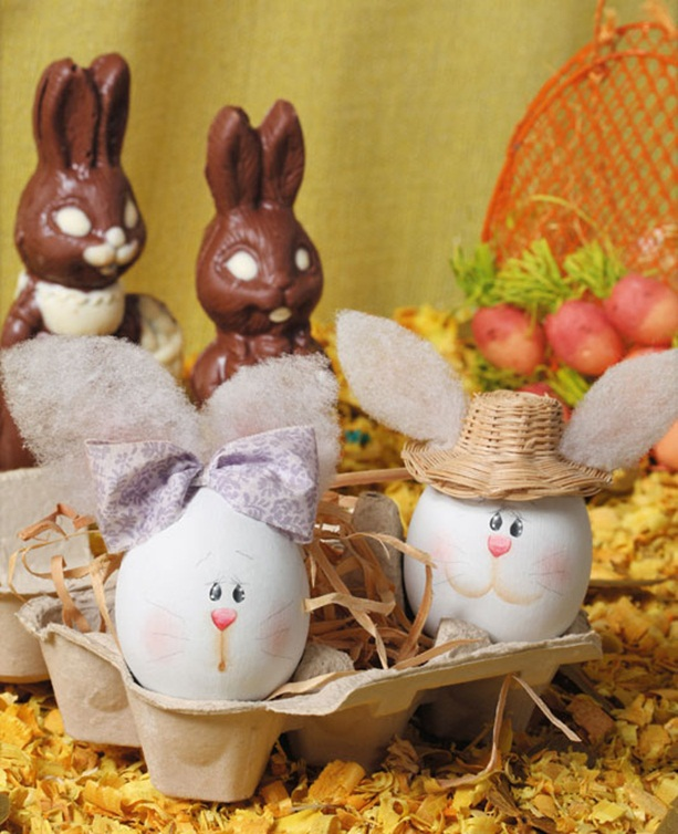 easter egg decorating ideas painting bunny faces hat ribbon