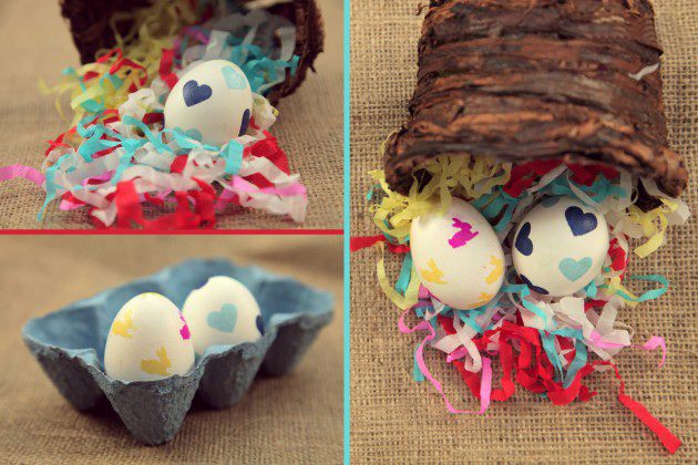 easter egg decorations stickers bunnies hearts glue