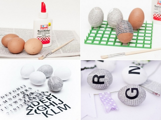 easter eggs decor ideas crafts tutorials letters newspaper