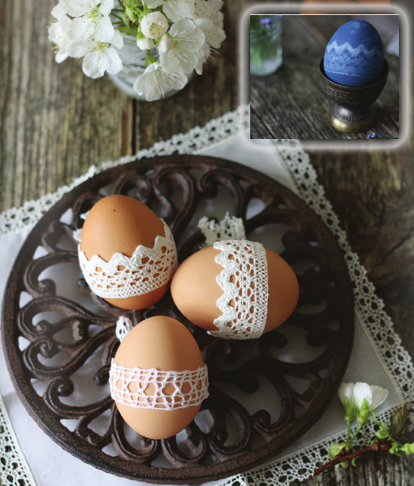 easter eggs decorating ideas lace crochet dye pattern