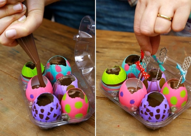 Homemade Easter gift ideas painted eggs kids adults melted chocolate