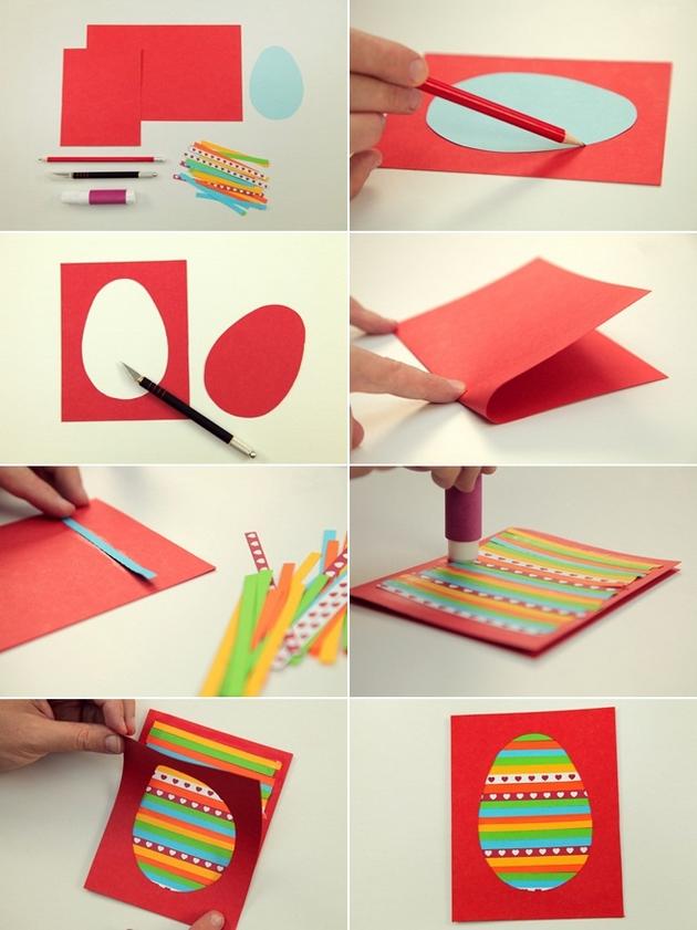 Superb Craft Ideas For Kids To Make Part - 3: Easter Kids Crafts Diy Easter Cards Egg Colourful Paper Stripes