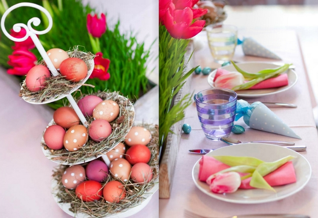 easter table decorations 3 tiered cake stand dyed eggs straw