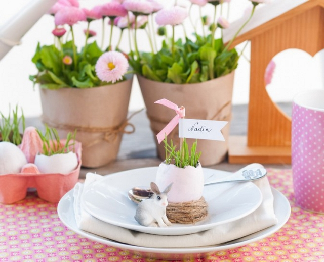 easter table crafts diy ideas plate vases egg shells name