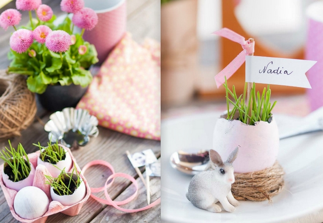 easter table decorations crafts place cards egg shell vases bunny