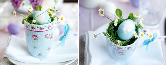 easter table decorations crafts tea cup filled daisies dyed eggs silhouette