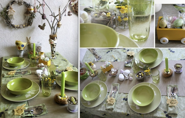 easter table decorations green themed nature feel easter egg tree