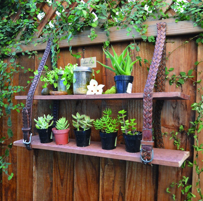 garden junk ideas creative projects shelves leather belt plants fencejpg