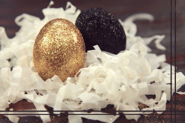 glittered easter eggs glue yellow black