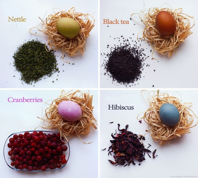 naturally dyed easter eggs foods plants herbs eco-friendly
