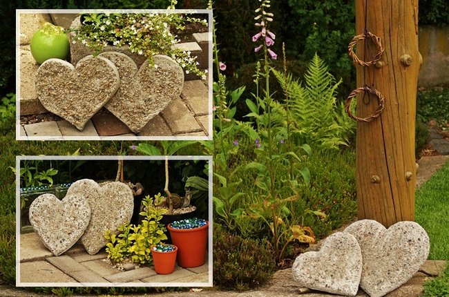 Concrete hearts garden patio deck decor ideas for Garden decoration ideas pictures