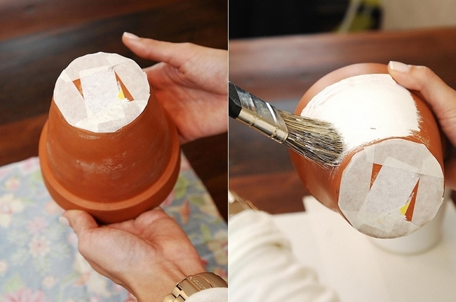 decorating flower pots easy diy idea decoupage fabric terra cotta