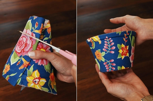 decorating flower pots easy diy idea tutorial fabric flower pattern