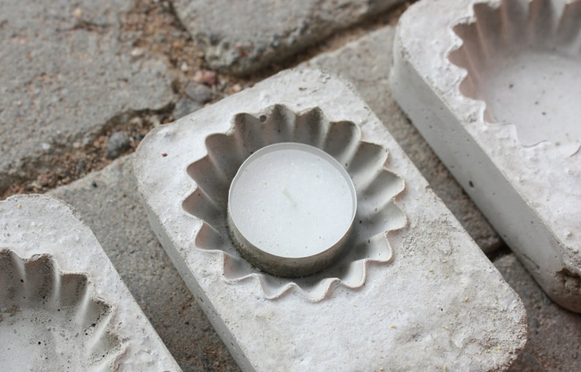diy concrete candle holder cupcake molds tea candles