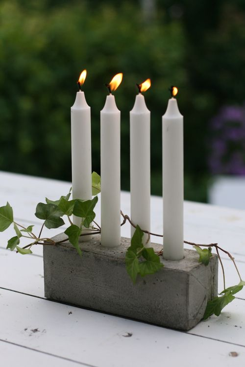 diy concrete candlestick milk carton box mould ivy decor