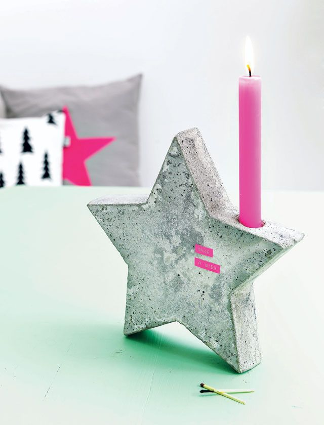 diy concrete candlestick star-shaped pink candle