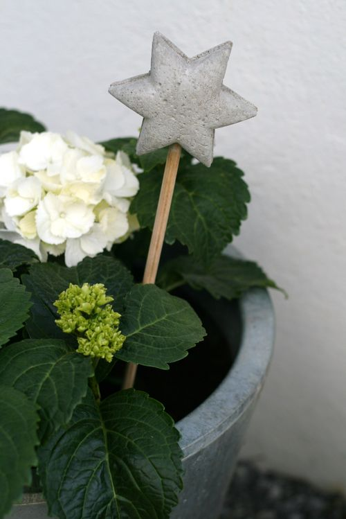 diy concrete ideas star stick decor hydrangea planter