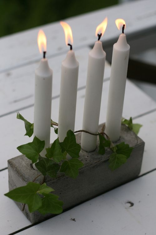 diy concrete project patio candleholder ivy decoration
