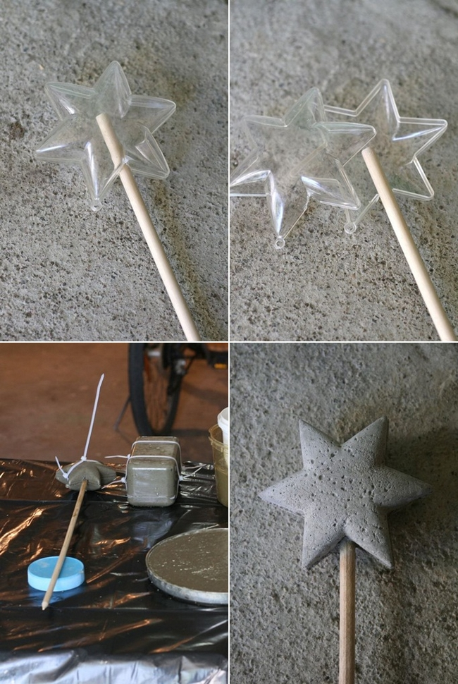 concrete projects magic wand star mould planter decor