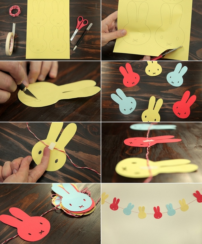 diy easter home decorating ideas crafts kids paper garland bunnies