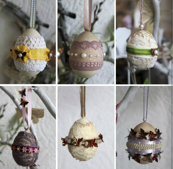 diy spring easter home decorating ideas egg ornaments pearls lace
