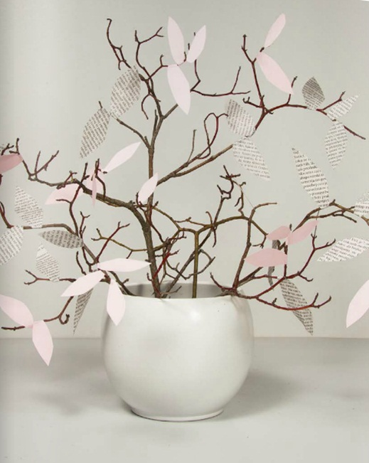 diy spring home decor vase branches paper leaves pink newspaper