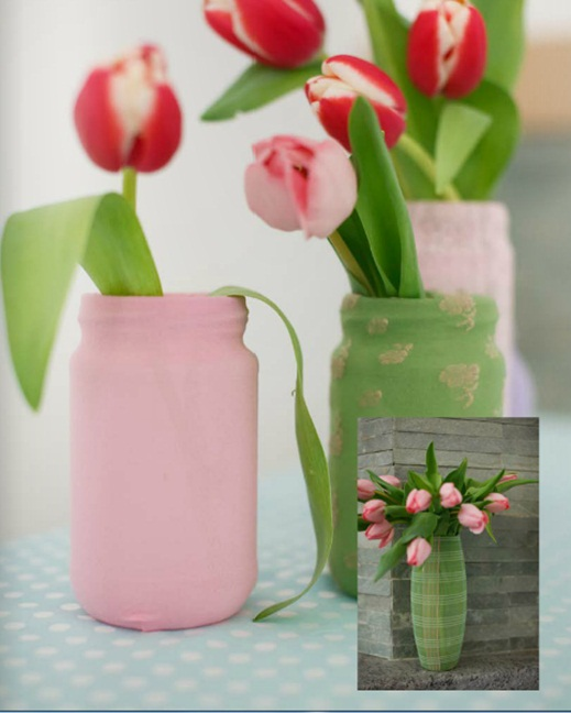 diy spring home decorating ideas jars paint cover fabric