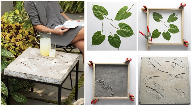diy table top concrete leaves moulds tutorial