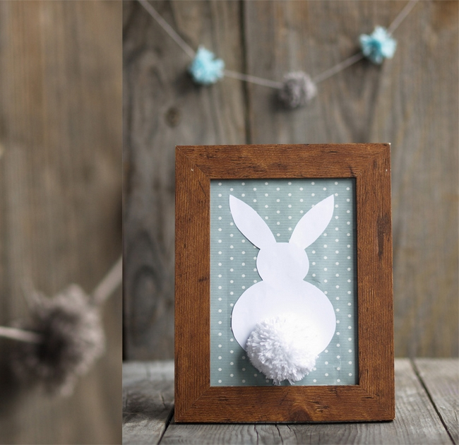 easter home decor wooden photo frame paper bunny pompom tail